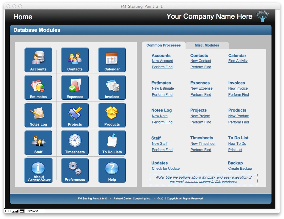 FileMaker Pro Starter Solution: CRM and invoicing complete