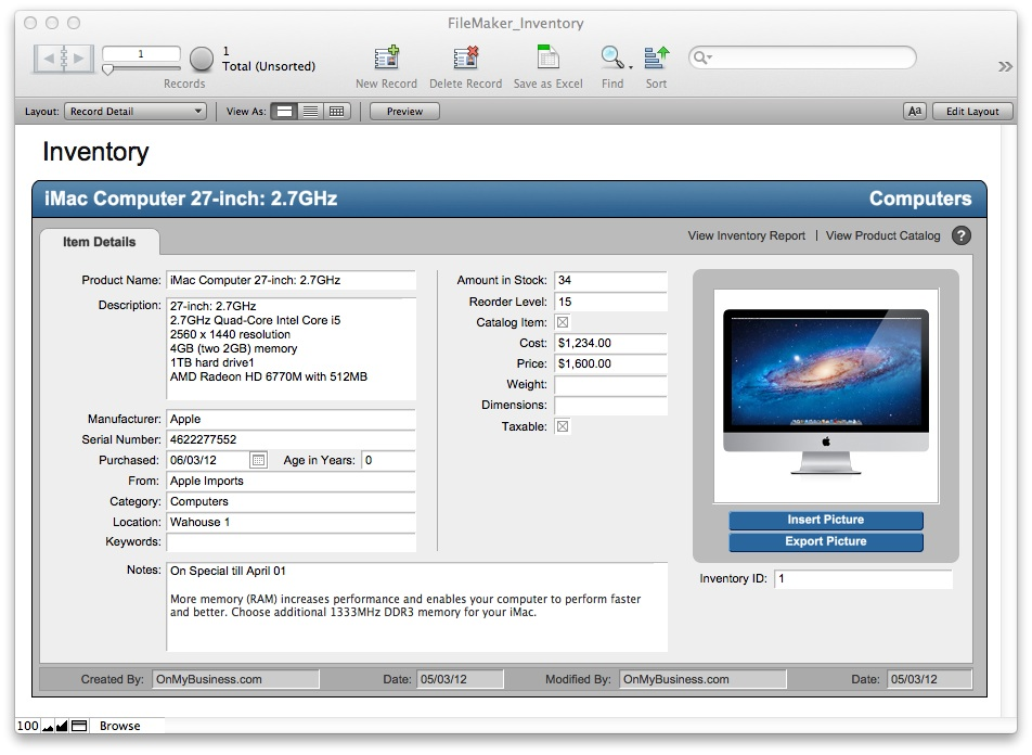 FileMaker Pro Starter Solution  Inventory aWNrkgQo